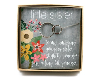 Younger Sister Necklace O Gift Birthday For Little Card Circle