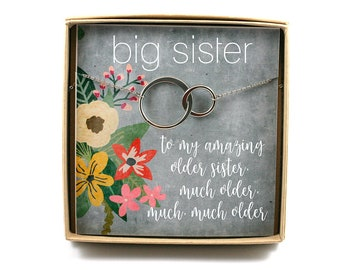 Older Sister Necklace O Gift Birthday For Big Card Two Circle