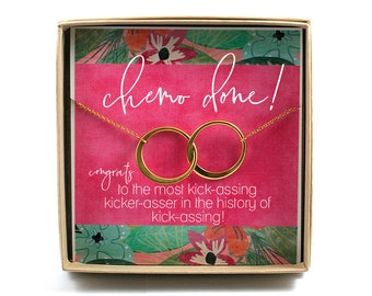 Chemo OVER Card With Gift • Connecting Circle Necklaces • Breast Cancer Jewelry • Breast Cancer Necklace • Gift for Woman Finishing Chemo