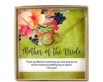Mother of the Bride Necklace • Mother Bride Jewelry • Connecting Circles • Mother of the Bride Gift Card • Mom Wedding Gift • Mom Wedding