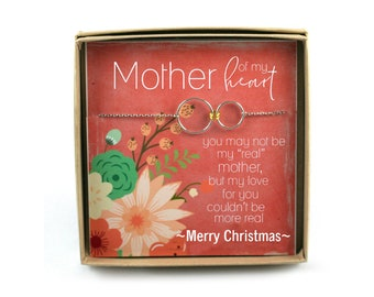Step Mother Bracelet for Christmas • Step Mother Gift • Connecting Circles  • Step Mother Gift Card • Mother of My Heart • Second Mother