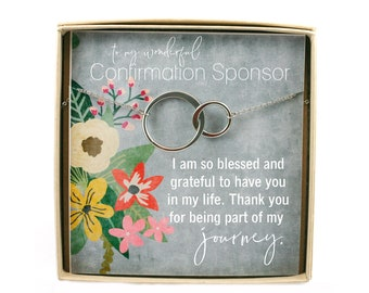 Confirmation Sponsor Gift • Sponsor Confirmation Necklace • Gifts for Religious Sponsor • Thank You Gift • Connecting Circle Necklace