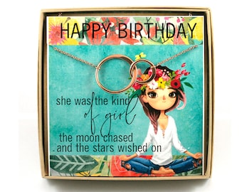 Birthday Girl Necklace • Gift for Girl's Birthday • Connecting Circles Necklace • Birthday Card with Gift • Girl With a Visions • Yoga Girl