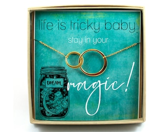 Magical Dreamer Necklace • Stay in Your Magic Gift • Connecting Circles Necklace • Dreamer Card and Gift • Alchemy Jewelry • Mystic Necklace