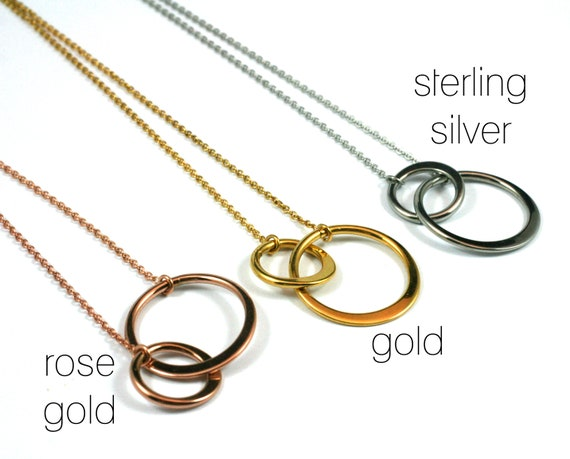 Family Necklace \u2022 Facing Challenges Together \u2022 Two Connecting Circles \u2022 Circle Necklace \u2022 Encouragement Gift Card \u2022 Mother Daughter Aunt