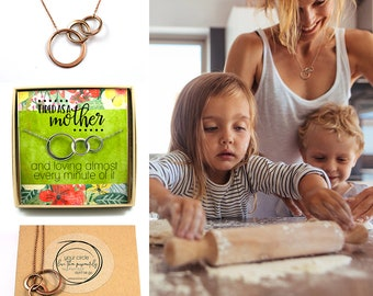 Mother Necklace • Mom Gift • Connecting Circles • Interlocking Circles • Mom Gift Card • Mother of two or More Children • Three Circles