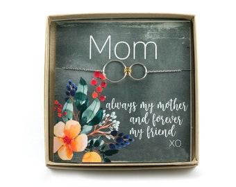 Mom Bracelet for Birthday • Mom Gift • Connecting Circles • Family Bracelet • Mother Gift Card • One Two or Three Children • Mother Bracelet