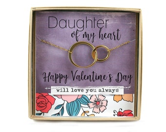 Daughter of My Heart Valentine Necklace • Step Daughter Valentines Day Gift • Circle Necklace • Boyfriend Daughter • Card Like A Daughter
