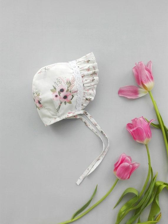 13ac61749 Floral Baby Bonnet/ Toddler Girl Hat/ Lase Newborn bonnet