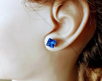Lapis Blue Zirconia Crystal Earrings