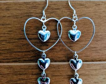 Triple The Love Earrings
