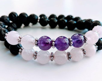 See Love Clearly Amethyst & Rose Quartz Bracelet Duo