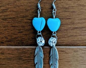 Mini Turquoise Hearts Earrings
