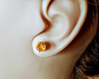 Amber Zirconia Crystal Earrings
