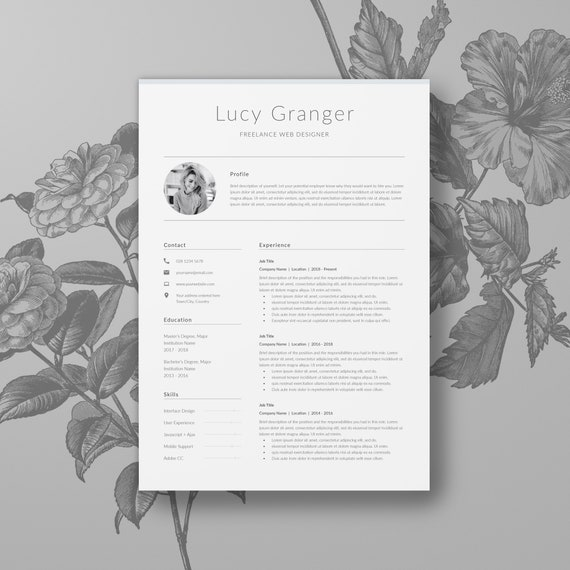 Professional Resume Template With Photo 2 Page CV