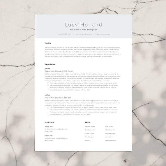 Modern And Professional Resume Template 1 Page Cv Template Etsy