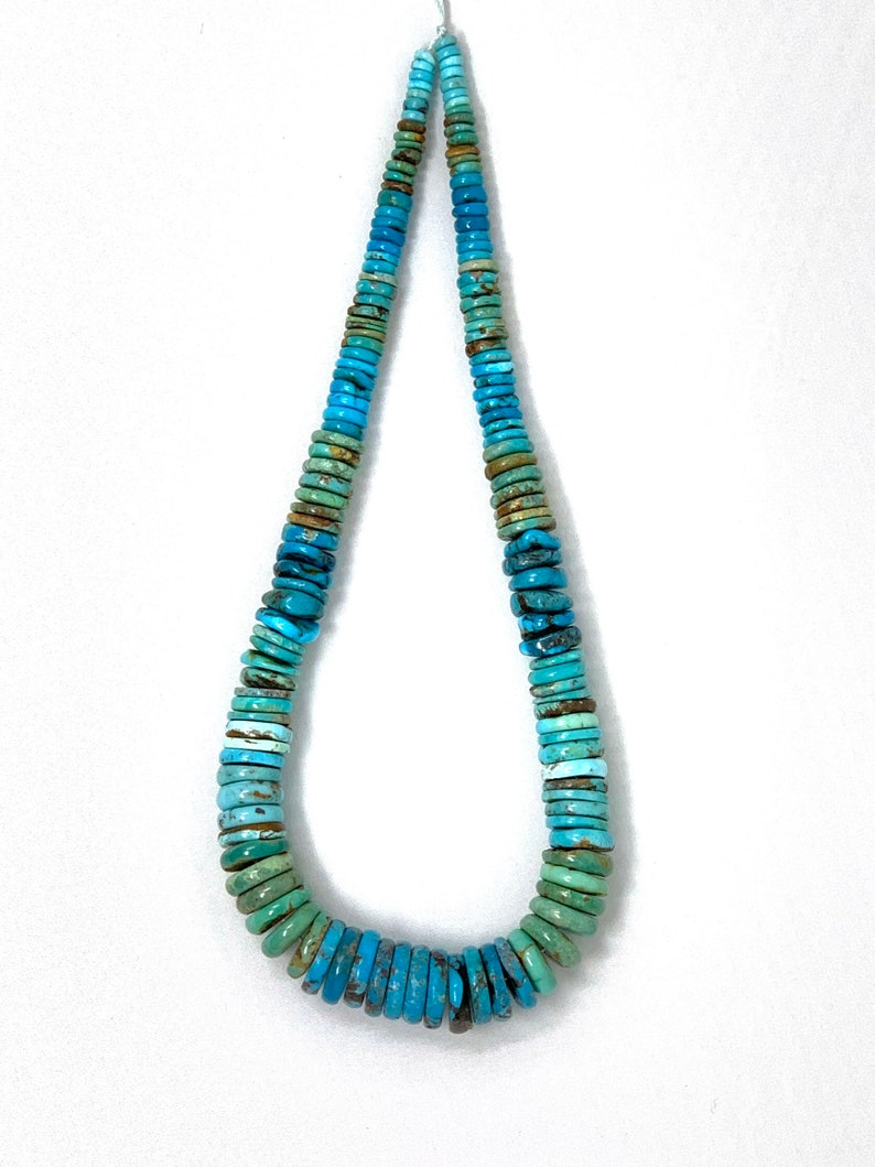 Natural Stabilized Turquoise Graduated Heishi 15.5 Beads 5mm to 15mm