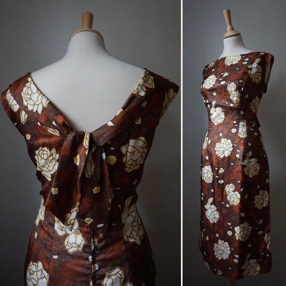 1950's Rose Floral Wiggle Dress