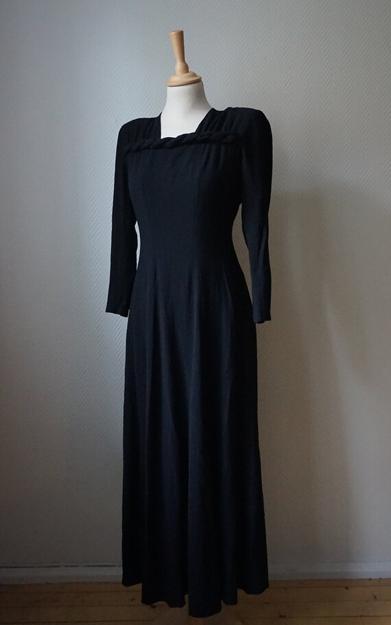 1940's Black Rayon Crepe Dress