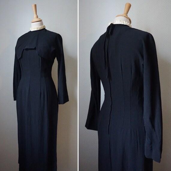 1940's Black Rayon Wiggle Dress