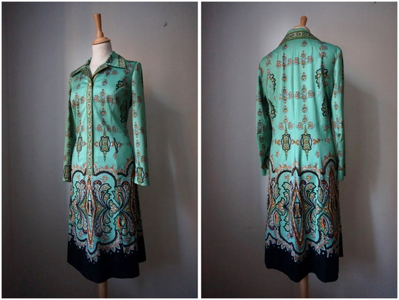 1970's Green Shirt Dress