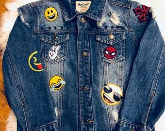 bb72a04a4071 Emoji Denim Distressed Jacket