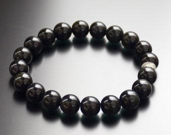 Obsidian Chakra Protection Bead Bracelet for Men /& Women 10mm 8mm