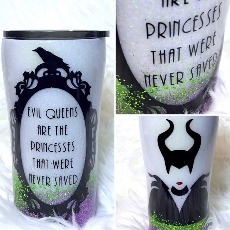 Maleficent Inspired Glitter Tumbler Glow In The Dark