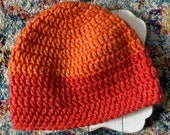 0-6 month handmade crochet coral pink orange two tone hat with