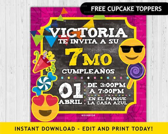 Emoji Invitation Birthday Invitation Personalized Wild Emoji Emoji Invit Digital Card Invitation Cards Birthday Emoji Girl