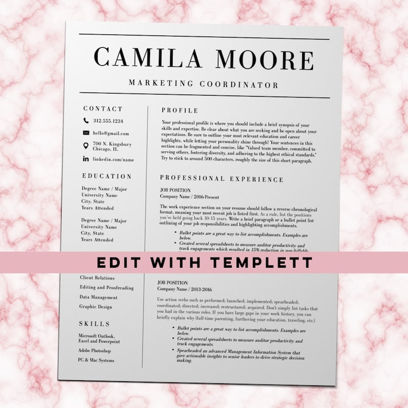 Resume Template, Cover Letter, References Page, Two Page Resume, Simple  Resume, Classic Resume, Instant Download Templett, Camila