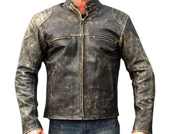 Mens Cafe Racer Vintage Retro Biker Stripped Lambskin Motorcycle Distressed Leather Jacket Brown