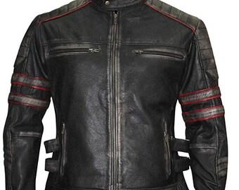 Herren CafeRacer Retro 3,Vintage Motorrad Schwarz Jacke,Distressed 100% Leder,BikerJacket,Retro JAcket,Motorbiker jackets,Handmade jacket