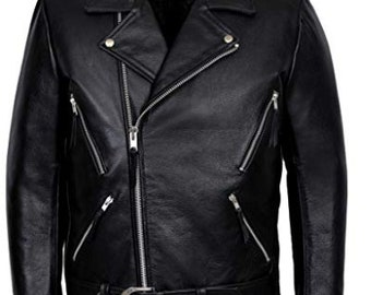 SIZE XS to 4XL ROCKSTAR LEATHER JACKET DESIGNED FOR MEN 100/% GENUINE LEATHER