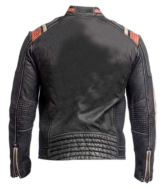 Jacket distressed Jackets vintage Schwarz Herren 3 handmade Jacke bikerjacket Jacket motorbiker retro Motorrad Caferacer 100Leder Retro y0Om8wnNv