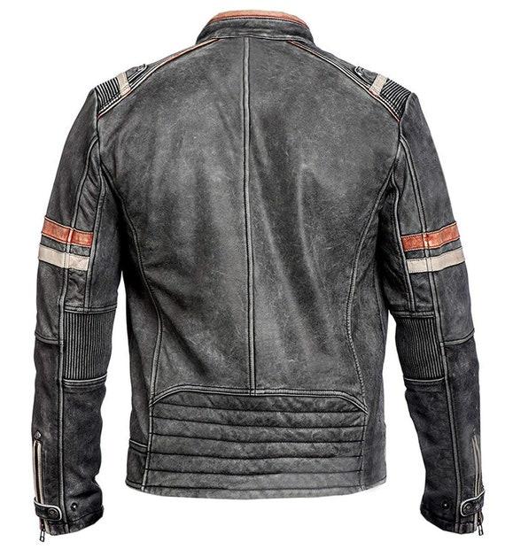 Retro Herren Vintage Leder Racer JackeSchwarz Premium Echtledervjacke Leather biker Jacket 2 Café Jacke – Jacket handmade Style Back E9DIH2W