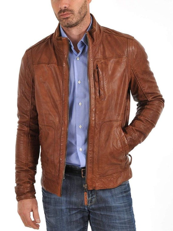 Herren Leder Jacke Braun Jents Leather Jacket Brown Smart Jungs leder jack Smart leder jacke Leder jacke Boys slim fit jacket