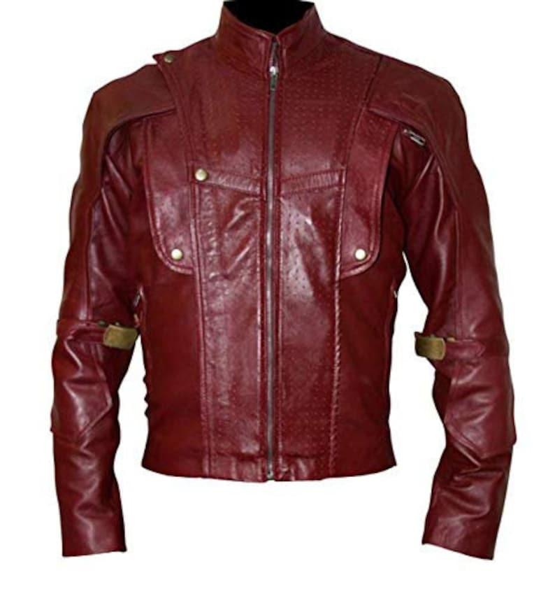Guardians of Galaxy Superhero Costume Leather Jacket Zipper Closure Premium Stitching