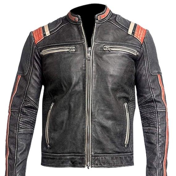 Right Jacket Cafe Racer Retro 2 Vintage Motorrad Schwarz