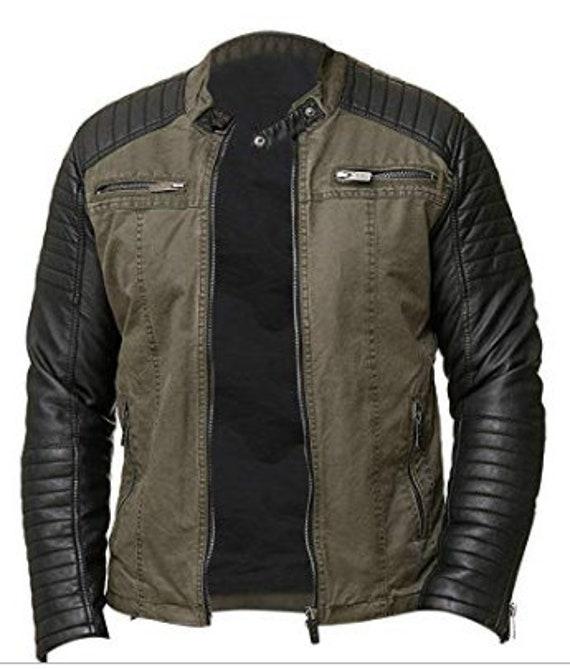 Distressed Leather Jacket for Men Biker Vintage Cafe Racer Retro Moon Rider Moto