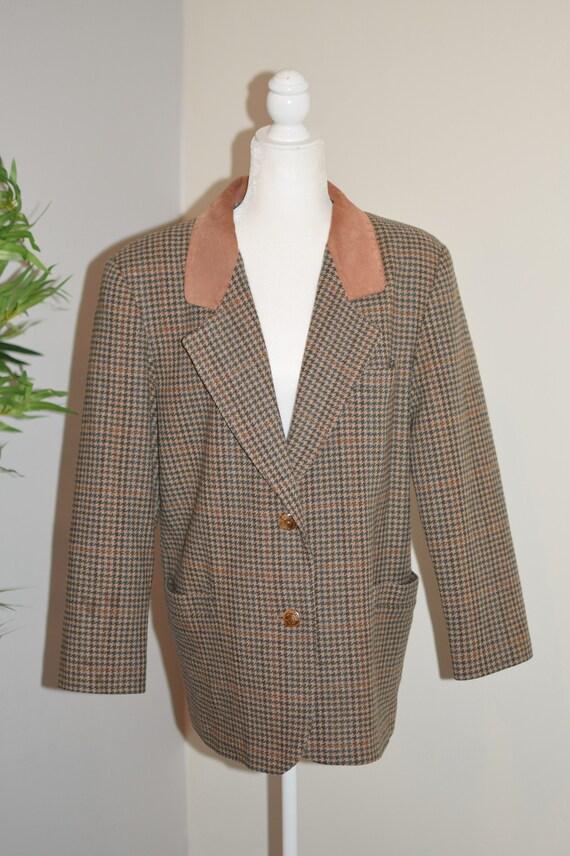 Vintage 80's/ 90's Plaid and tan blazer - image 2