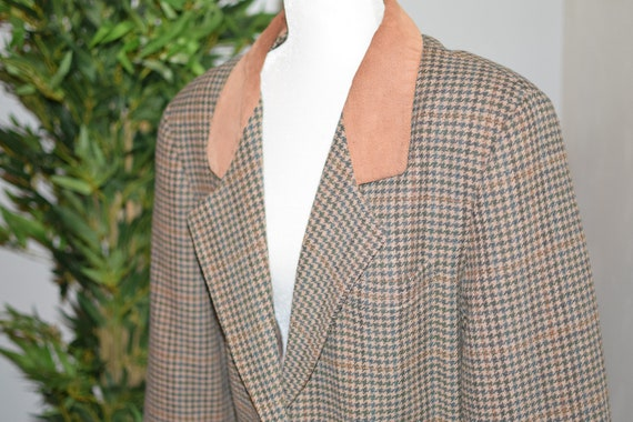Vintage 80's/ 90's Plaid and tan blazer - image 5