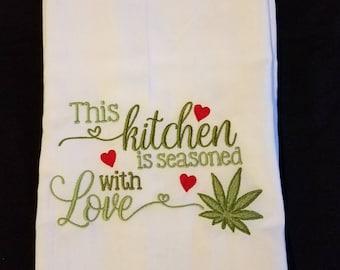 Bone Appetit Tea Kitchen Towel Skull Chef Flour Sack
