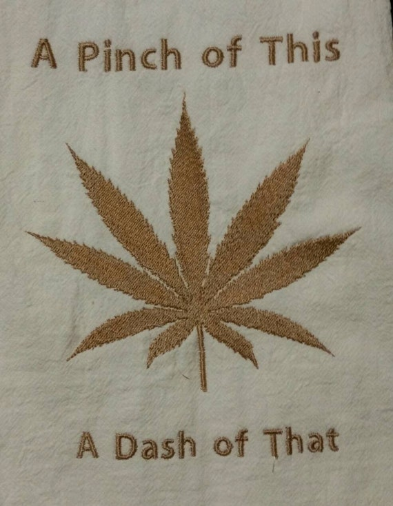 marijuana apron wild animal print embroidered a pinch of this a dash of that  and weed leaf design handmade