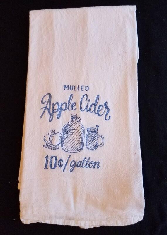Apple Cider Flour Sack Towel Dish Towel Custom Embroidered Etsy