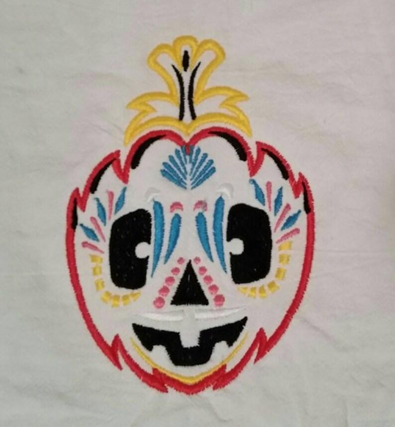 sugar skull pumpkin 4  flour sack towels custom embroidered day of the dead Halloween dish towels
