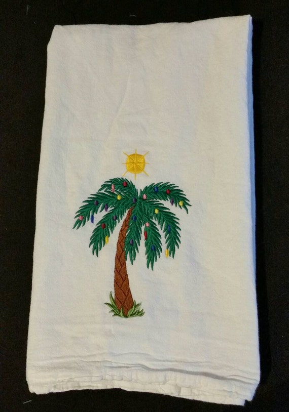Christmas flour sack towels custom embroidered palm tree Christmas tree  dish towels tea towels