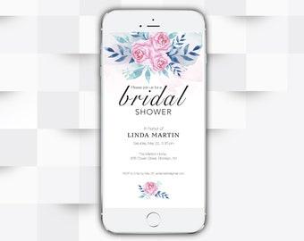 Modern Iphone Invitation sparkly Bridal Shower Electronic Invitation Floral invitation Gold Electronic Invite announcement phone invite ebr4