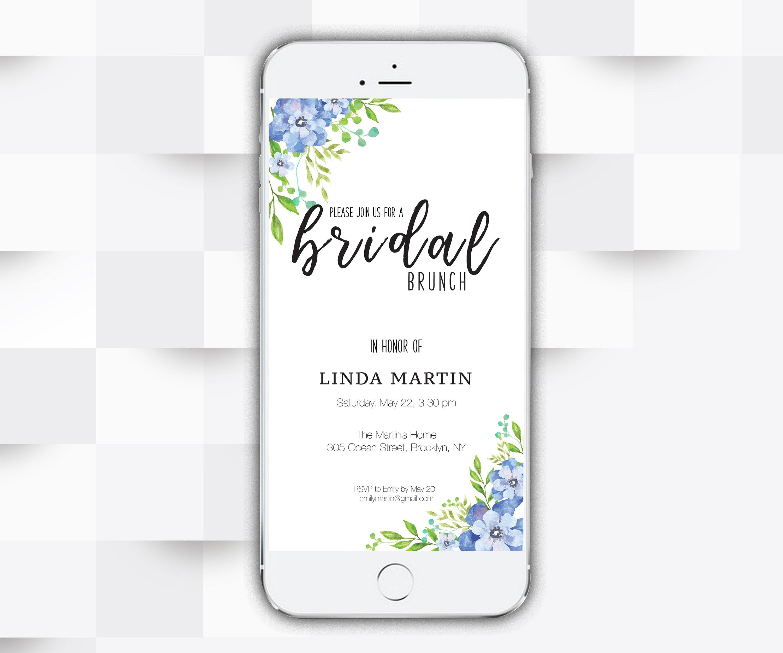c8a49450fdf Electronic Bridal Shower Invitation Digital Smartphone Bridal