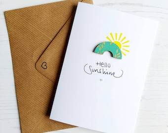 Birthday card, Hello Sunshine, Greetings card, Rainbow, Handmade card, Laser Cut Paper and Wood
